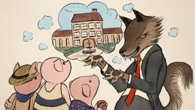 Illustration of a wolf selling a house to three pigs