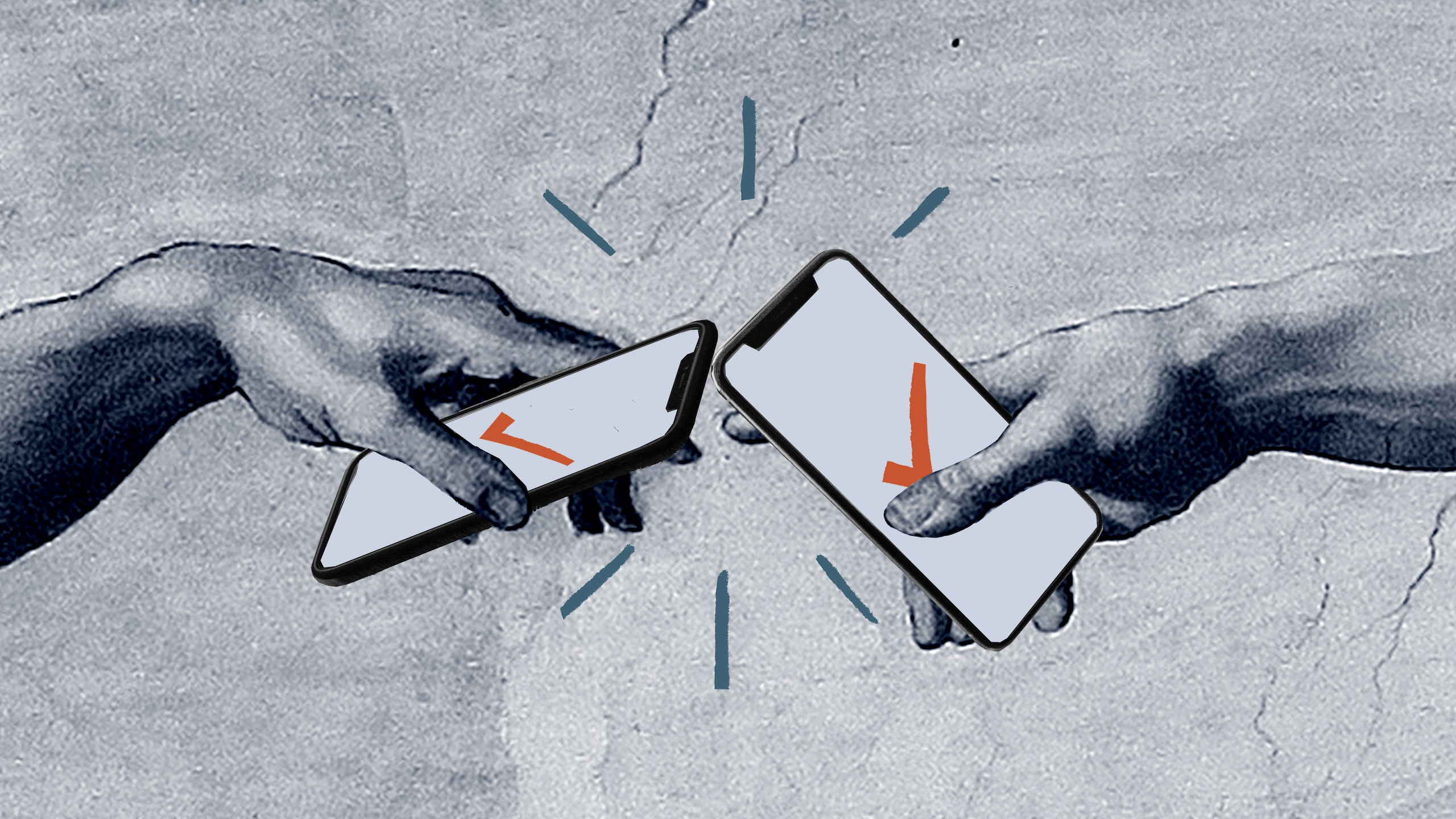 Illustration of hands from Sistine Chapel ceiling holding smartphones with orange ticks on the screen