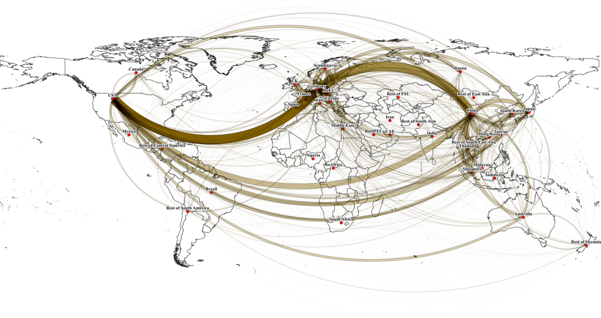 Lines connect ultimate origins and destinations of supply chains, both direct and multi-node. Line thickness represents trade volume lost.